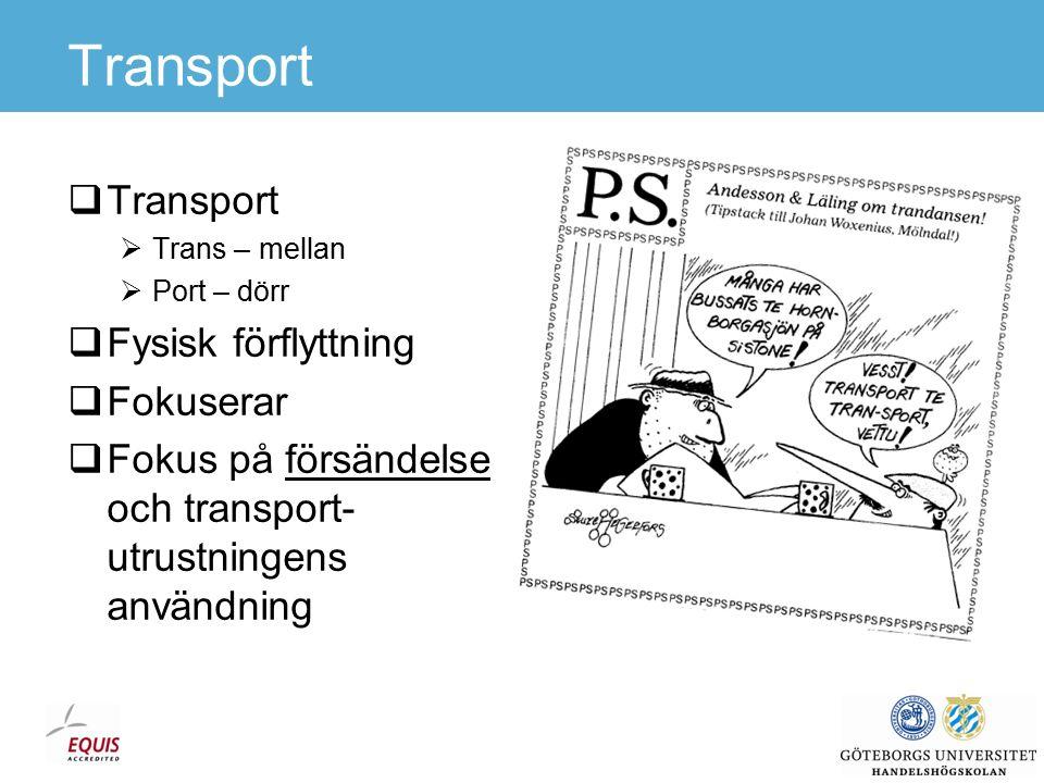 Transport  Transport  Trans – mellan  Port – dörr  Fysisk förflyttning  Fokuserar  Fokus på försändelse och transport- utrustningens användning