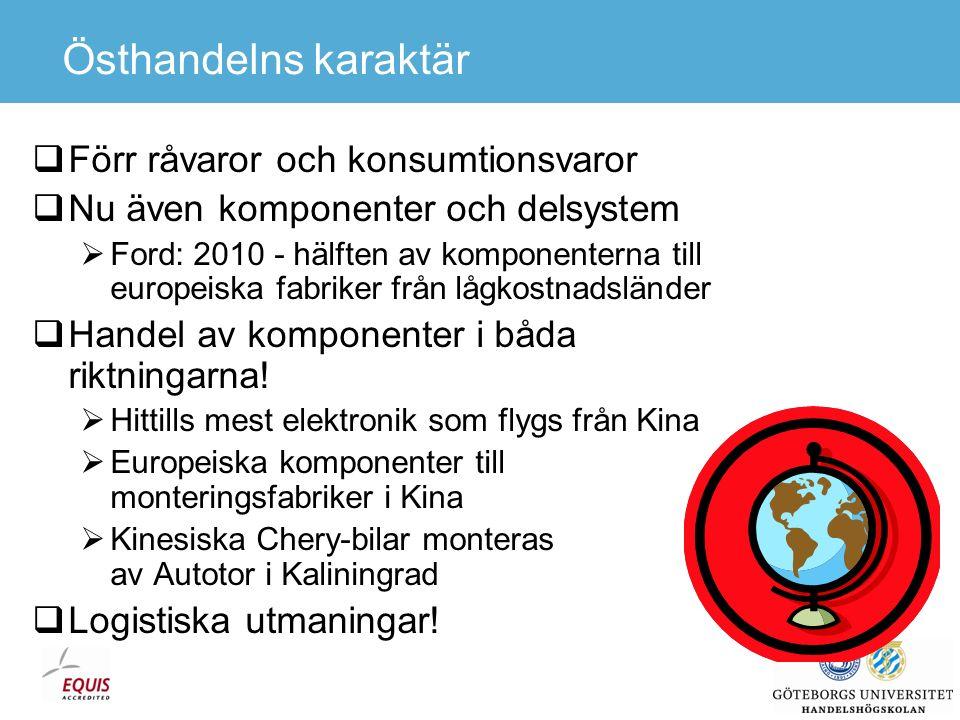 Kina 2005  Handeln  Export +28%, Import +18%  Handelsöverskott ca 750 Mdr SEK  Ca 75 MTEU  Nästan 100 Göteborgs Hamn (788 kTEU)  Bredd: 120 i bredd över Atlanten  Höjd: Ungefär halvvägs till månen  Yta: 6 i höjd över hela Stockholms stad  4 miljoner TEU avsåg flodhamnar  Polarisering av utbudet av trafikslag  Sjöfart: Långsammaste och billigaste  Flyg: Snabbaste och dyraste  Kan transsibiriska järnvägen bli en vettig kompromiss.