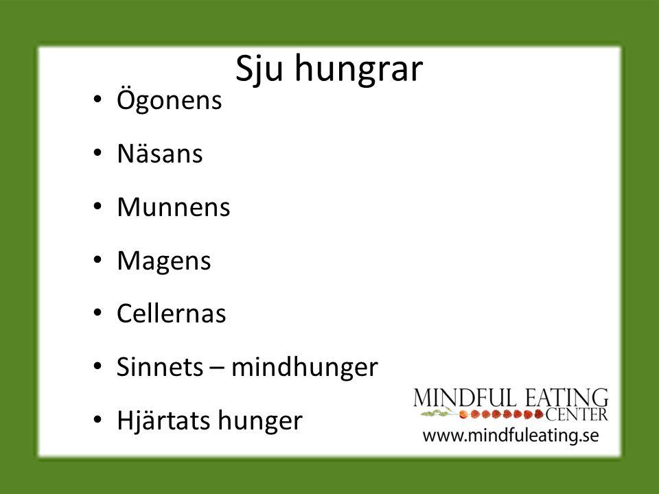 Sju hungrar Ögonens Näsans Munnens Magens Cellernas Sinnets – mindhunger Hjärtats hunger
