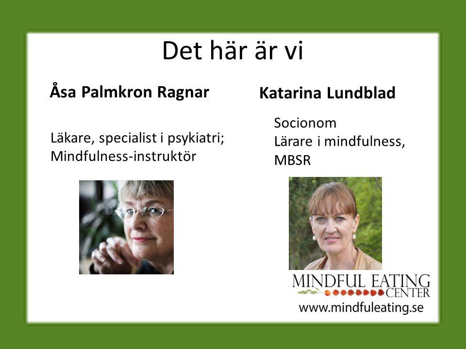 Det här är vi Åsa Palmkron Ragnar Läkare, specialist i psykiatri; Mindfulness-instruktör Katarina Lundblad Socionom Lärare i mindfulness, MBSR