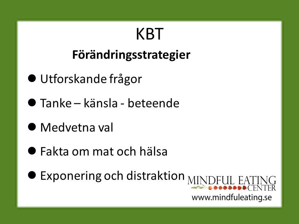 KBT Förändringsstrategier Utforskande frågor Tanke – känsla - beteende Medvetna val Fakta om mat och hälsa Exponering och distraktion