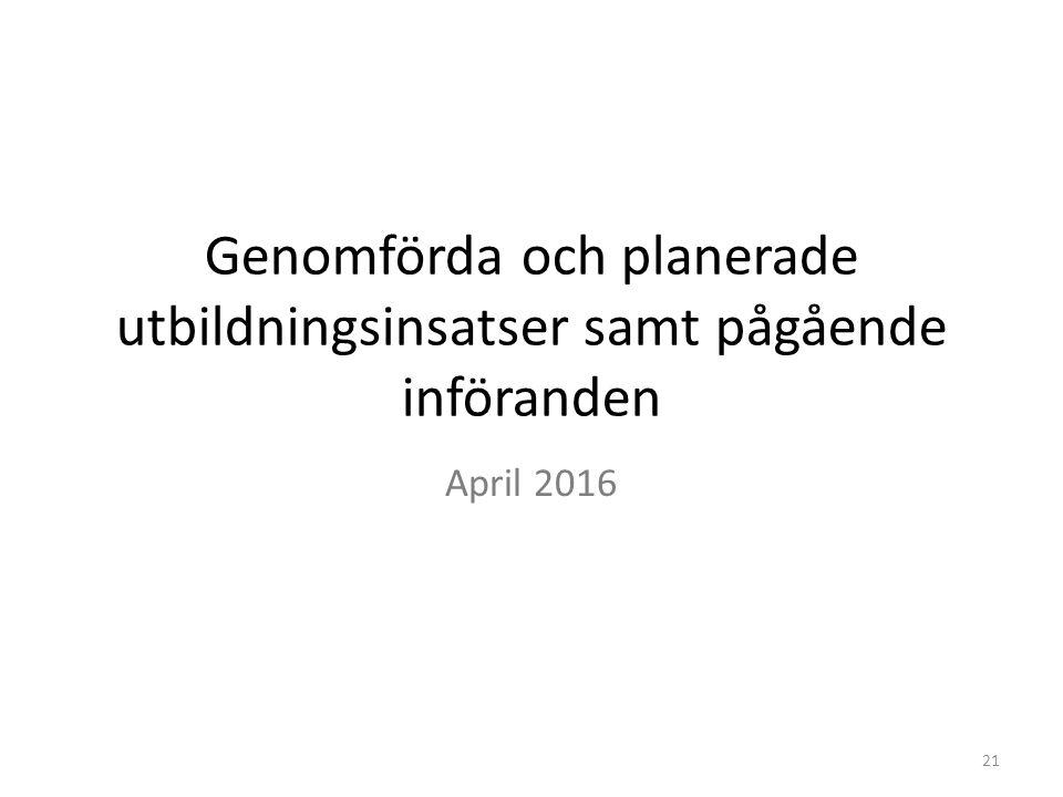 Genomförda och planerade utbildningsinsatser samt pågående införanden April 2016 21