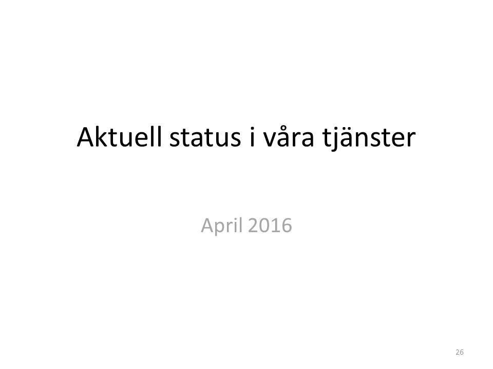 Aktuell status i våra tjänster April 2016 26