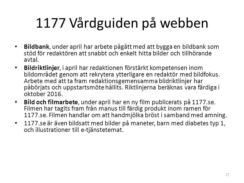 1177 Vårdguiden på webben Bildbank, under april har arbete pågått med att bygga en bildbank som stöd för redaktören att snabbt och enkelt hitta bilder och tillhörande avtal.