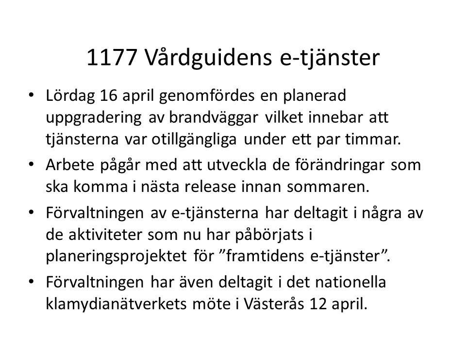 1177 Vårdguidens e-tjänster Lördag 16 april genomfördes en planerad uppgradering av brandväggar vilket innebar att tjänsterna var otillgängliga under ett par timmar.