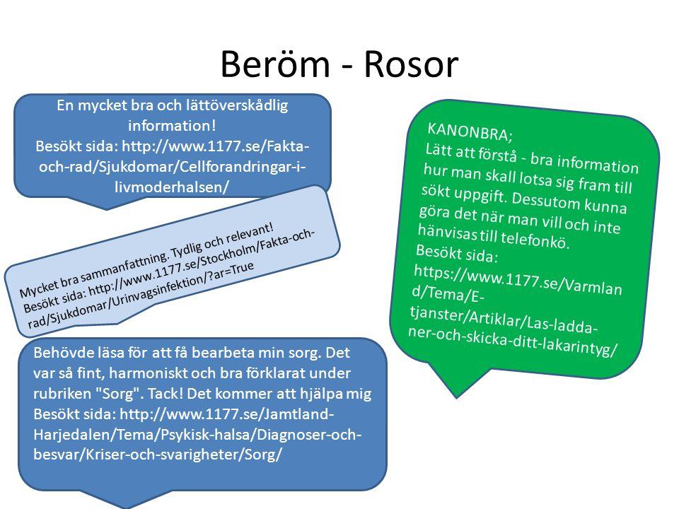 Beröm - Rosor En mycket bra och lättöverskådlig information! Besökt sida: http://www.1177.se/Fakta- och-rad/Sjukdomar/Cellforandringar-i- livmoderhals