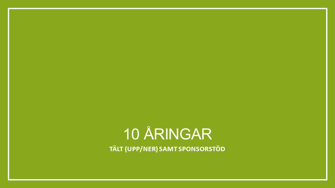 10 ÅRINGAR TÄLT (UPP/NER) SAMT SPONSORSTÖD