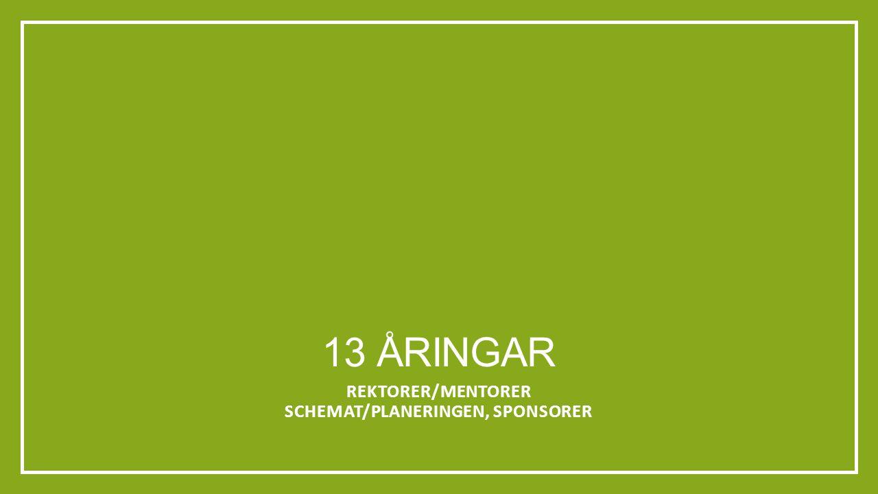 13 ÅRINGAR REKTORER/MENTORER SCHEMAT/PLANERINGEN, SPONSORER