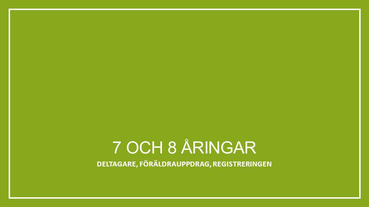 7 OCH 8 ÅRINGAR DELTAGARE, FÖRÄLDRAUPPDRAG, REGISTRERINGEN