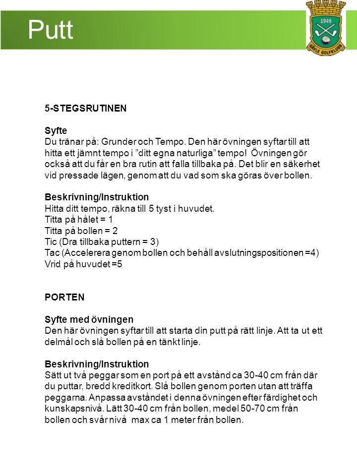 Putt 5-STEGSRUTINEN Syfte Du tränar på: Grunder och Tempo.