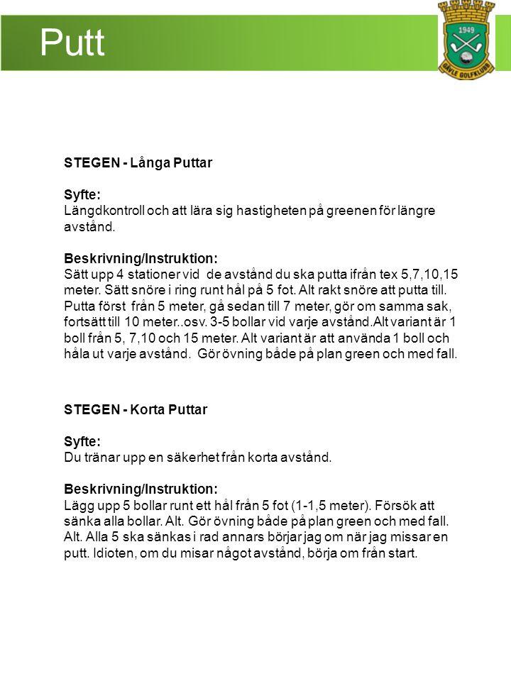 Putt STEGEN - Långa Puttar Syfte: Längdkontroll och att lära sig hastigheten på greenen för längre avstånd. Beskrivning/Instruktion: Sätt upp 4 statio