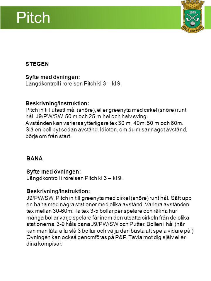 Pitch STEGEN Syfte med övningen: Längdkontroll i rörelsen Pitch kl 3 – kl 9.