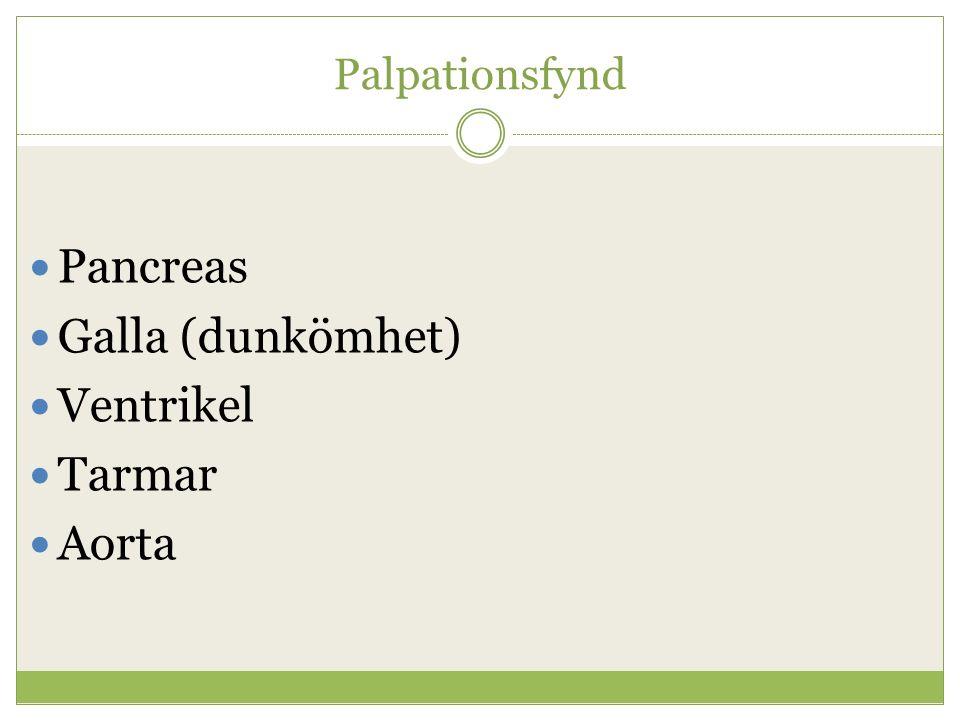Palpationsfynd Pancreas Galla (dunkömhet) Ventrikel Tarmar Aorta