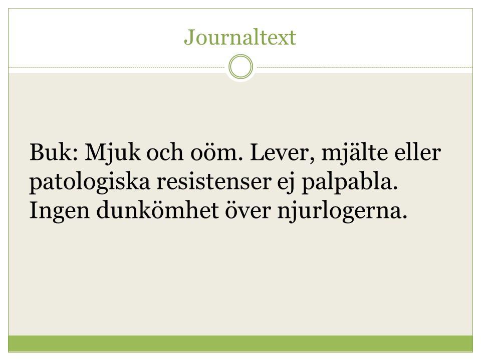 Journaltext Buk: Mjuk och oöm. Lever, mjälte eller patologiska resistenser ej palpabla. Ingen dunkömhet över njurlogerna.