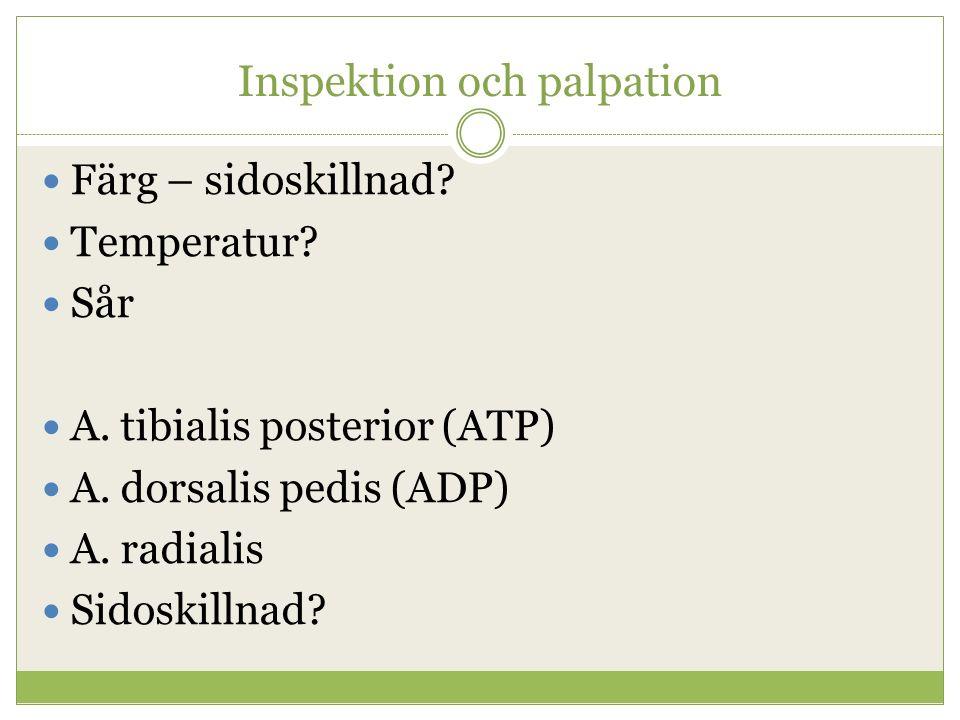 Inspektion och palpation Färg – sidoskillnad? Temperatur? Sår A. tibialis posterior (ATP) A. dorsalis pedis (ADP) A. radialis Sidoskillnad?