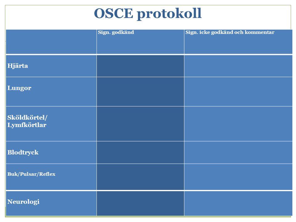 OSCE protokoll Sign. godkändSign. icke godkänd och kommentar Hjärta Lungor Sköldkörtel/ Lymfkörtlar Blodtryck Buk/Pulsar/Reflex Neurologi