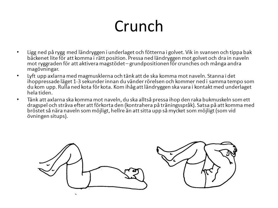 Crunch Ligg ned på rygg med ländryggen i underlaget och fötterna i golvet.