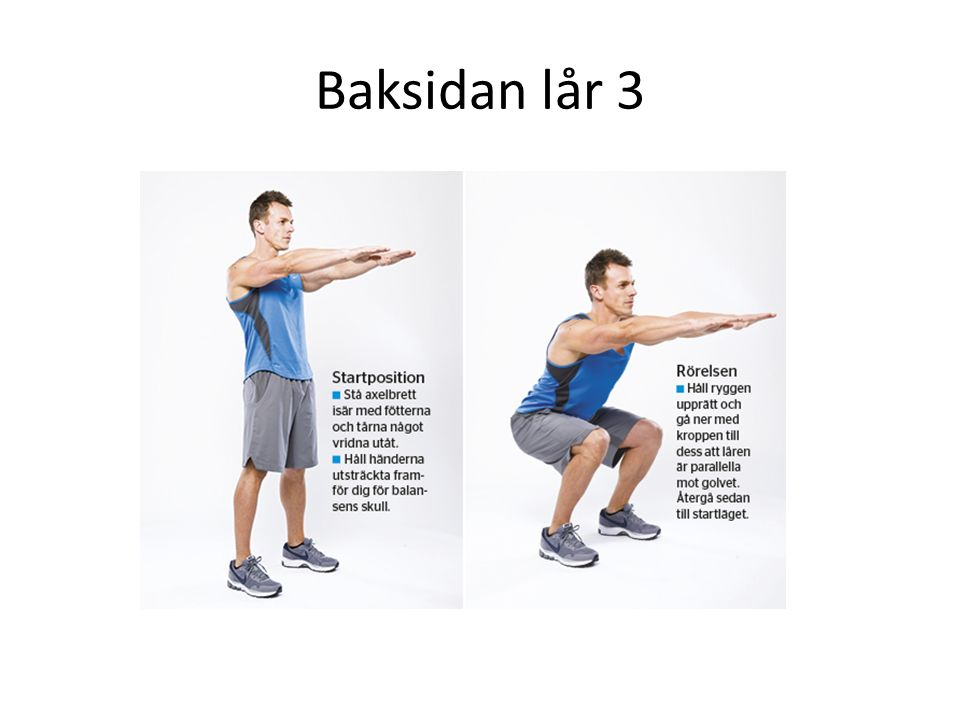 Baksidan lår 4 Använd träningsboll eller typ parkbänk Lyft höften och spänn, mage, rumpa och baksidan lår.