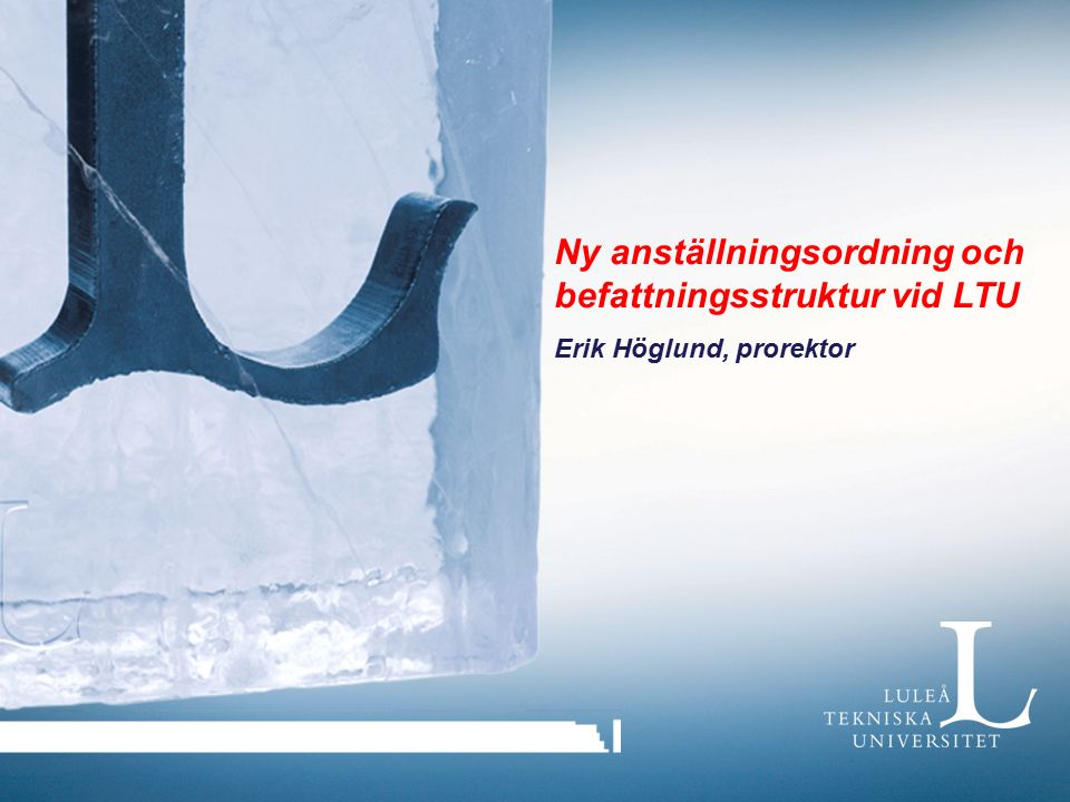 Ny anställningsordning och befattningsstruktur vid LTU Erik Höglund, prorektor