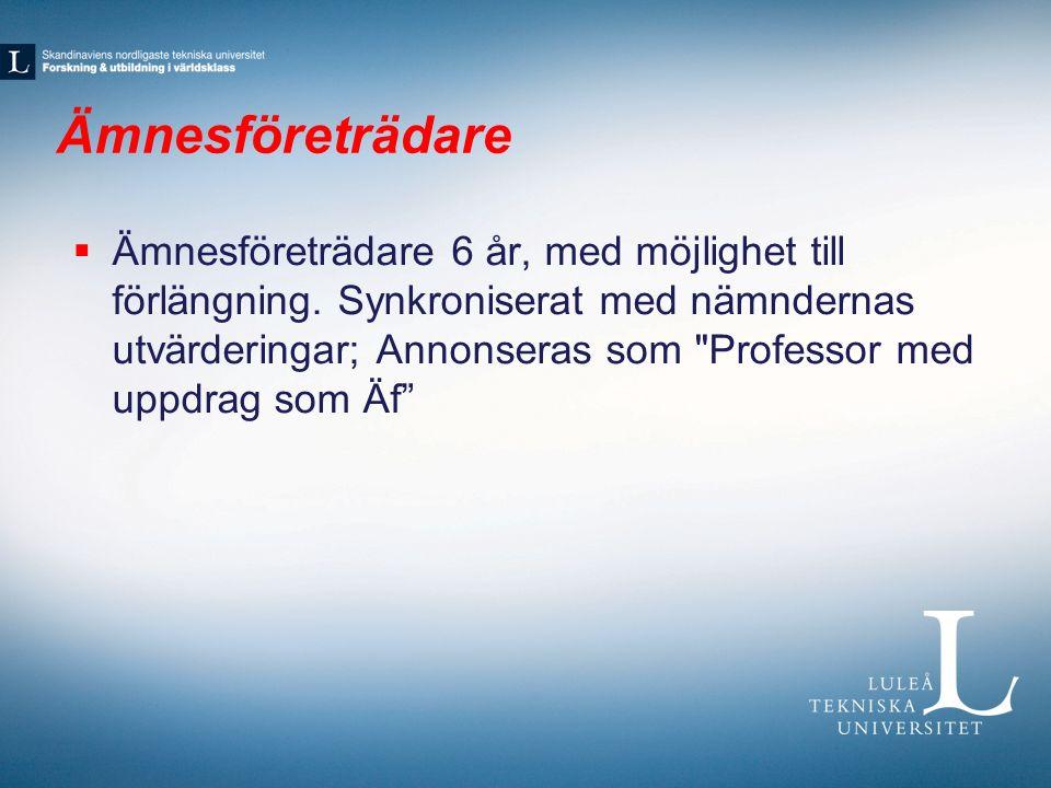 Ämnesföreträdare  Ämnesföreträdare 6 år, med möjlighet till förlängning.