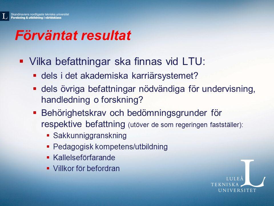 Förväntat resultat  Vilka befattningar ska finnas vid LTU:  dels i det akademiska karriärsystemet.