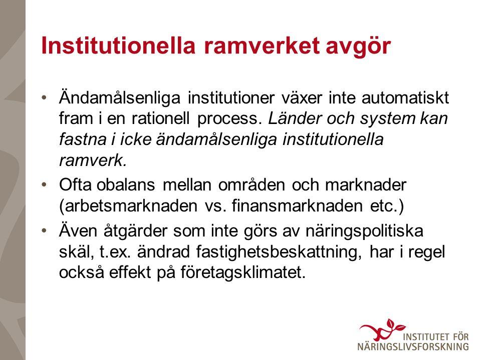 Institutionella ramverket avgör Ändamålsenliga institutioner växer inte automatiskt fram i en rationell process. Länder och system kan fastna i icke ä