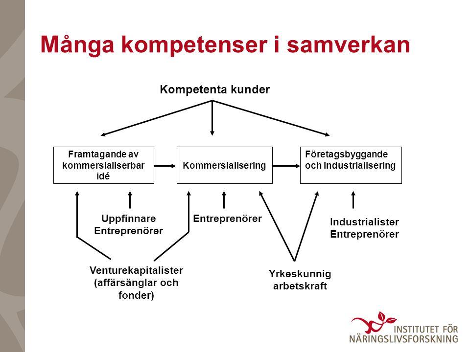 Många kompetenser i samverkan Företagsbyggande och industrialisering Venturekapitalister (affärsänglar och fonder) Yrkeskunnig arbetskraft Framtagande av kommersialiserbar idé Kommersialisering Kompetenta kunder Industrialister Entreprenörer Uppfinnare Entreprenörer