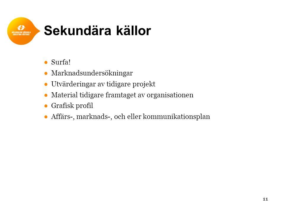 Sekundära källor ●Surfa! ●Marknadsundersökningar ●Utvärderingar av tidigare projekt ●Material tidigare framtaget av organisationen ●Grafisk profil ●Af