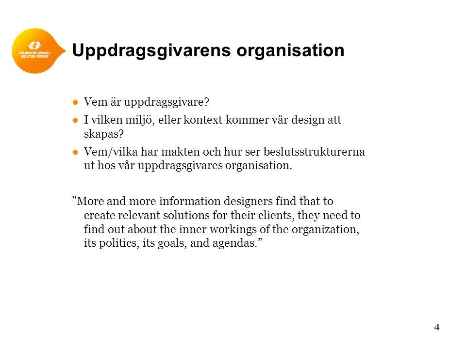 Uppdragsgivarens organisation ●Vem är uppdragsgivare? ●I vilken miljö, eller kontext kommer vår design att skapas? ●Vem/vilka har makten och hur ser b