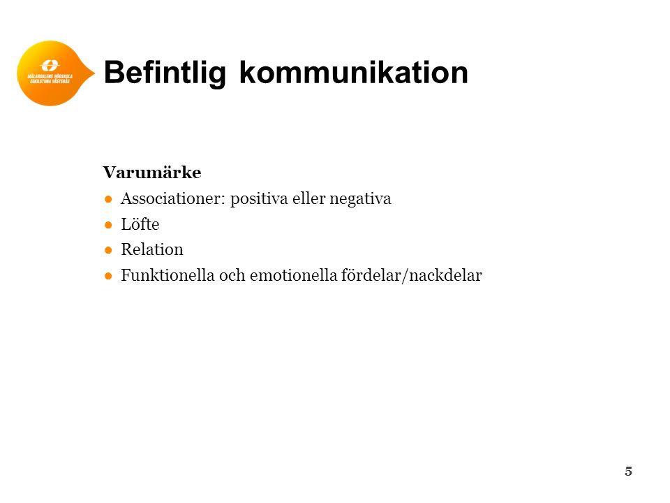 Befintlig kommunikation Varumärke ●Associationer: positiva eller negativa ●Löfte ●Relation ●Funktionella och emotionella fördelar/nackdelar 5