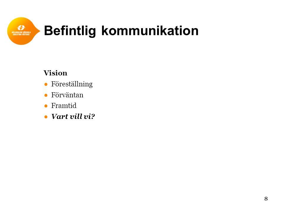 Befintlig kommunikation Vision ●Föreställning ●Förväntan ●Framtid ●Vart vill vi? 8