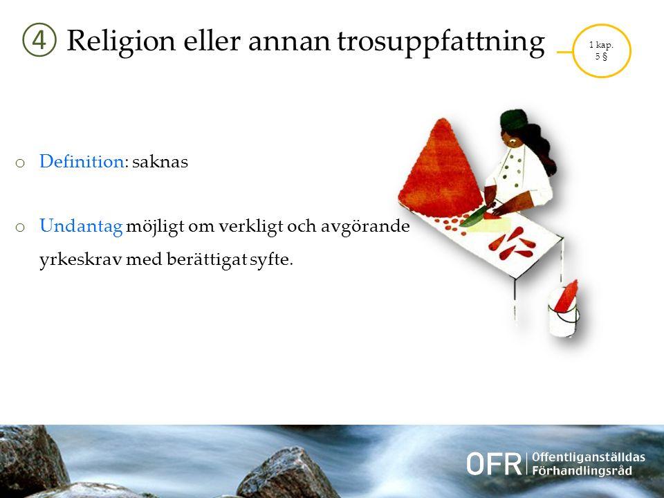 ④ Religion eller annan trosuppfattning 1 kap.