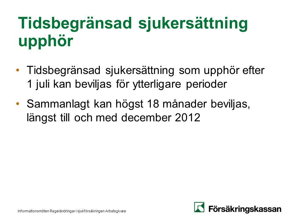Informationsmöten Regeländringar i sjukförsäkringen Arbetsgivare Tidsbegränsad sjukersättning upphör Tidsbegränsad sjukersättning som upphör efter 1 juli kan beviljas för ytterligare perioder Sammanlagt kan högst 18 månader beviljas, längst till och med december 2012