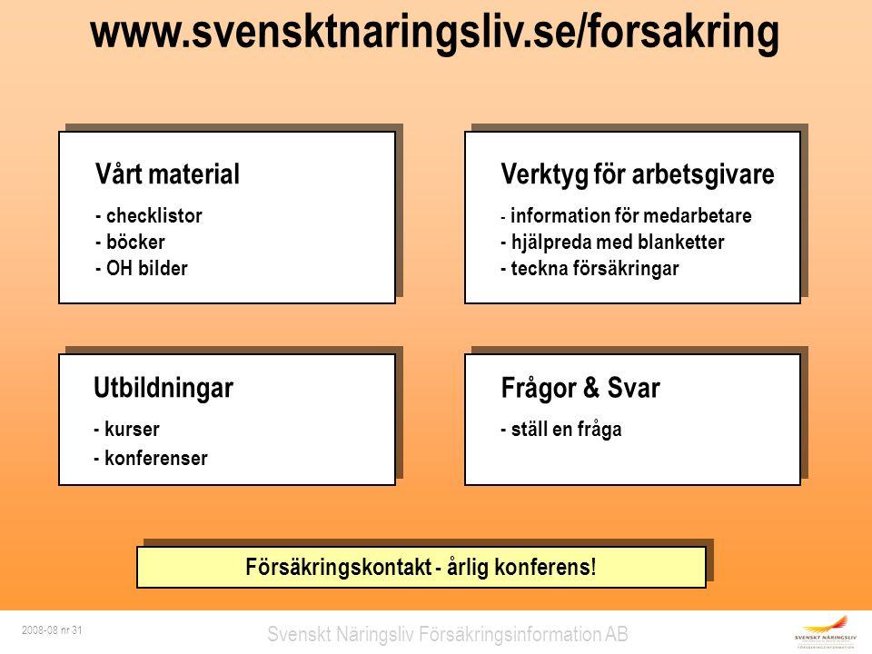 2008-08 nr 31 Svenskt Näringsliv Försäkringsinformation AB www.svensktnaringsliv.se/forsakring Vårt material - checklistor - böcker - OH bilder Vårt m