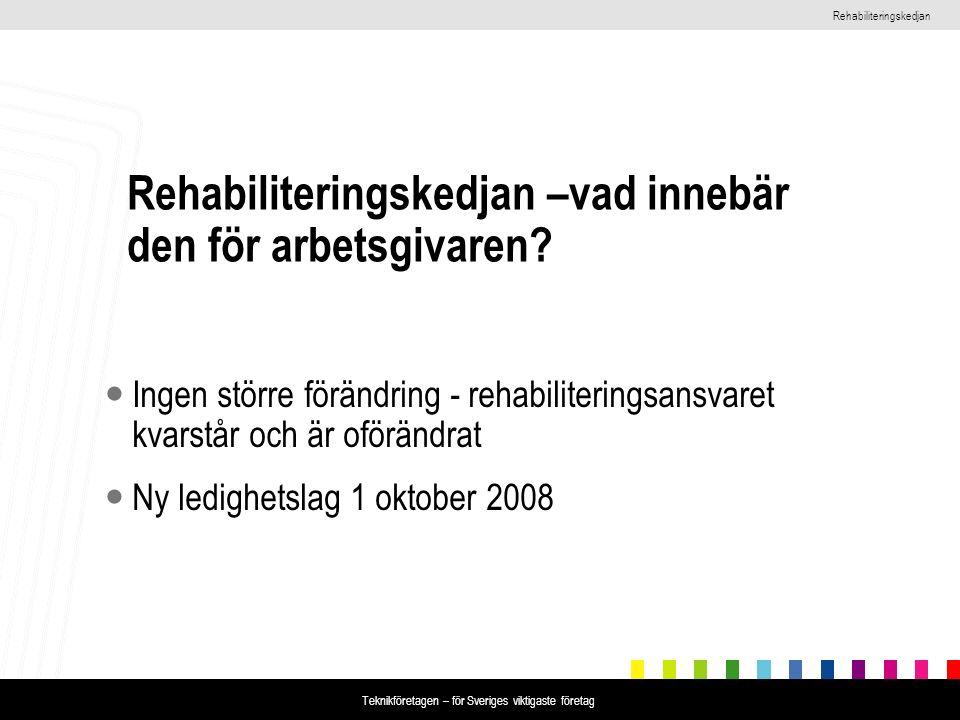 Rehabiliteringskedjan Teknikföretagen – för Sveriges viktigaste företag Rehabiliteringskedjan –vad innebär den för arbetsgivaren? Ingen större förändr