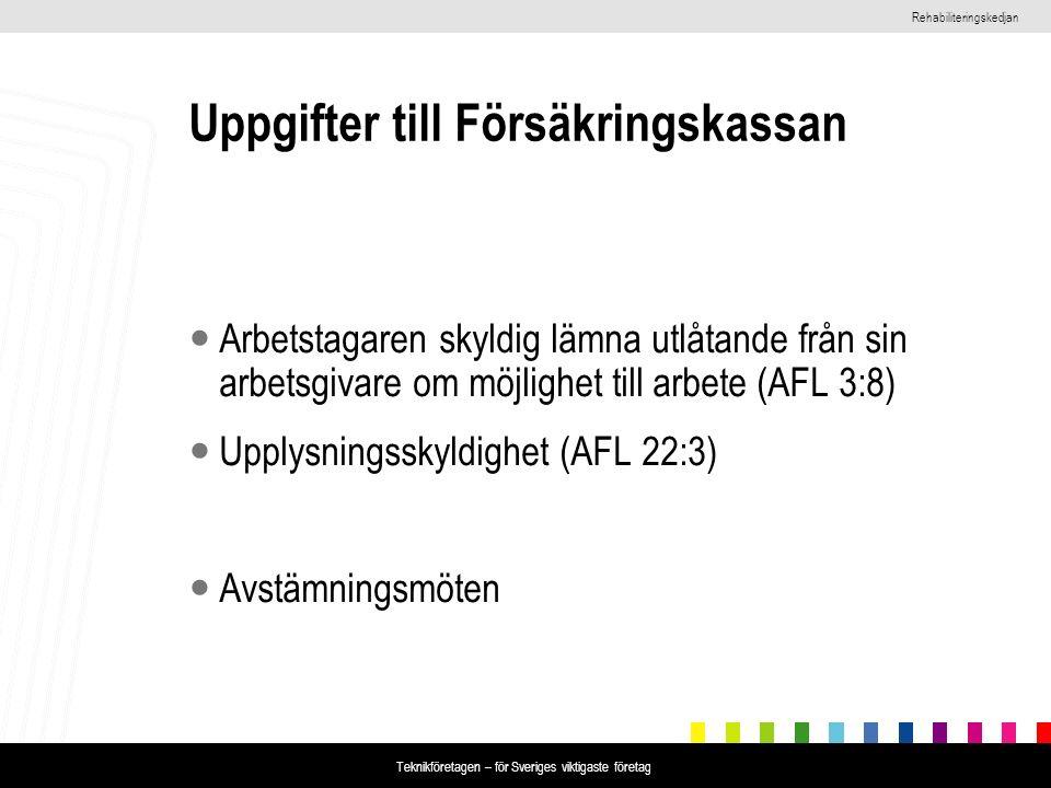 Rehabiliteringskedjan Teknikföretagen – för Sveriges viktigaste företag Uppgifter till Försäkringskassan Arbetstagaren skyldig lämna utlåtande från sin arbetsgivare om möjlighet till arbete (AFL 3:8) Upplysningsskyldighet (AFL 22:3) Avstämningsmöten