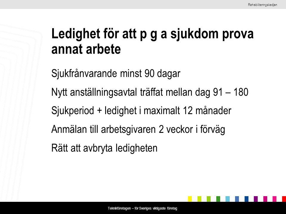 Rehabiliteringskedjan Teknikföretagen – för Sveriges viktigaste företag Ledighet för att p g a sjukdom prova annat arbete Sjukfrånvarande minst 90 dag