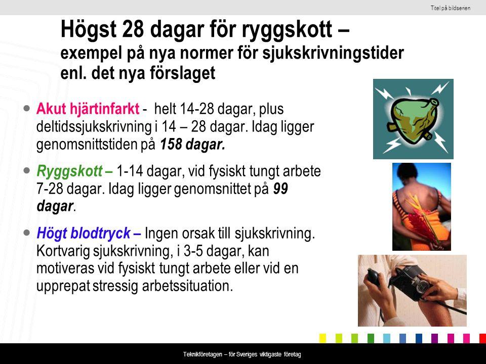 Titel på bildserien Teknikföretagen – för Sveriges viktigaste företag Högst 28 dagar för ryggskott – exempel på nya normer för sjukskrivningstider enl
