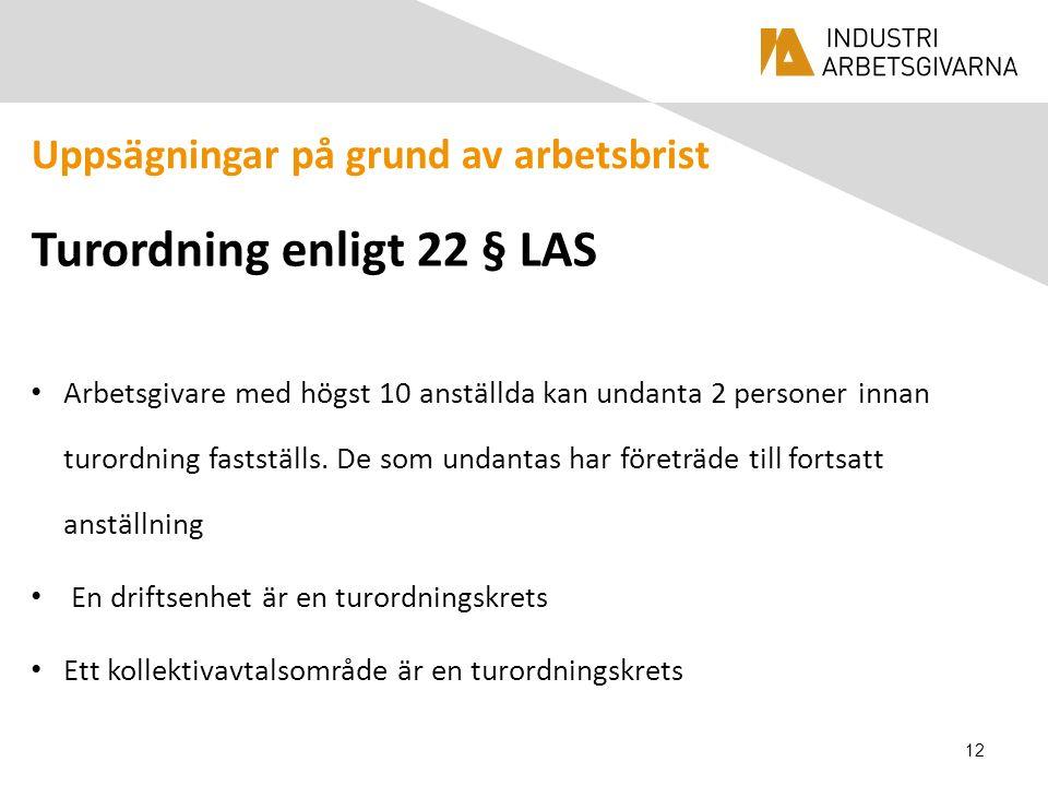 Uppsägningar på grund av arbetsbrist Turordning enligt 22 § LAS Arbetsgivare med högst 10 anställda kan undanta 2 personer innan turordning fastställs.