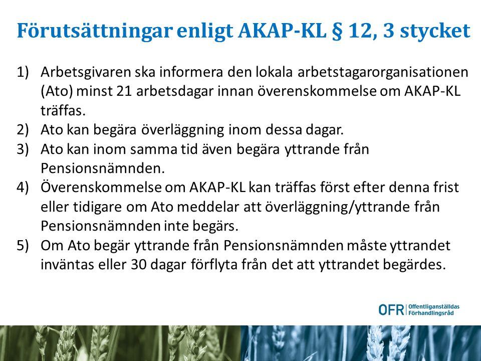 Förutsättningar enligt AKAP-KL § 12, 3 stycket 1)Arbetsgivaren ska informera den lokala arbetstagarorganisationen (Ato) minst 21 arbetsdagar innan överenskommelse om AKAP-KL träffas.