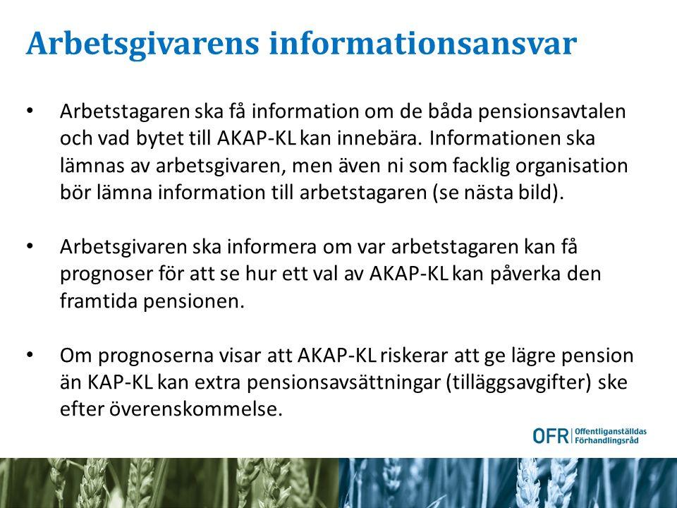 Arbetsgivarens informationsansvar Arbetstagaren ska få information om de båda pensionsavtalen och vad bytet till AKAP-KL kan innebära. Informationen s
