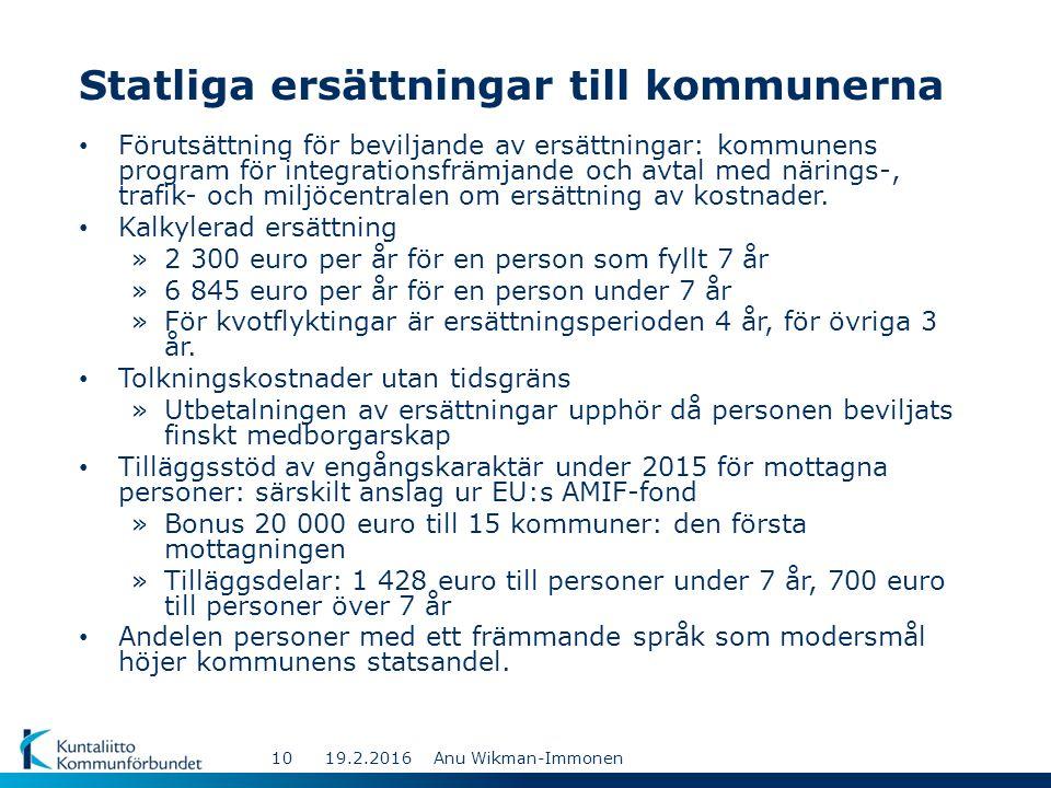 Statliga ersättningar till kommunerna Förutsättning för beviljande av ersättningar: kommunens program för integrationsfrämjande och avtal med närings-, trafik- och miljöcentralen om ersättning av kostnader.