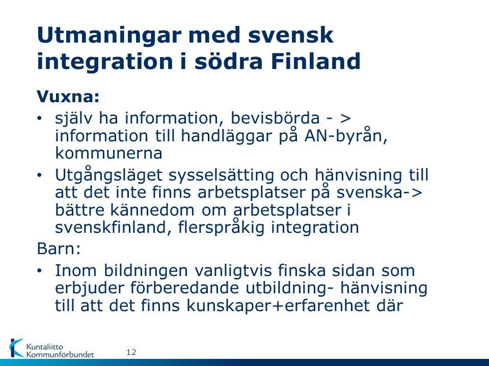 Utmaningar med svensk integration i södra Finland Vuxna: själv ha information, bevisbörda - > information till handläggar på AN-byrån, kommunerna Utgångsläget sysselsätting och hänvisning till att det inte finns arbetsplatser på svenska-> bättre kännedom om arbetsplatser i svenskfinland, flerspråkig integration Barn: Inom bildningen vanligtvis finska sidan som erbjuder förberedande utbildning- hänvisning till att det finns kunskaper+erfarenhet där 12