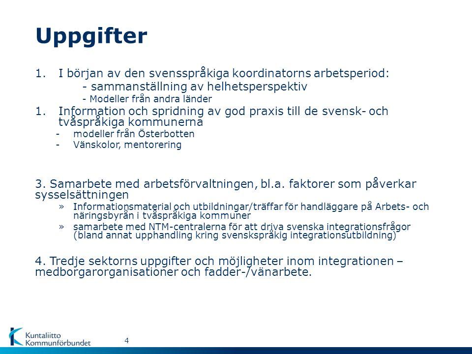 Uppgifter 4 1.I början av den svensspråkiga koordinatorns arbetsperiod: - sammanställning av helhetsperspektiv - Modeller från andra länder 1.Information och spridning av god praxis till de svensk- och tvåspråkiga kommunerna -modeller från Österbotten -Vänskolor, mentorering 3.