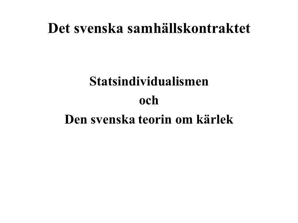 Det svenska samhällskontraktet Statsindividualismen och Den svenska teorin om kärlek