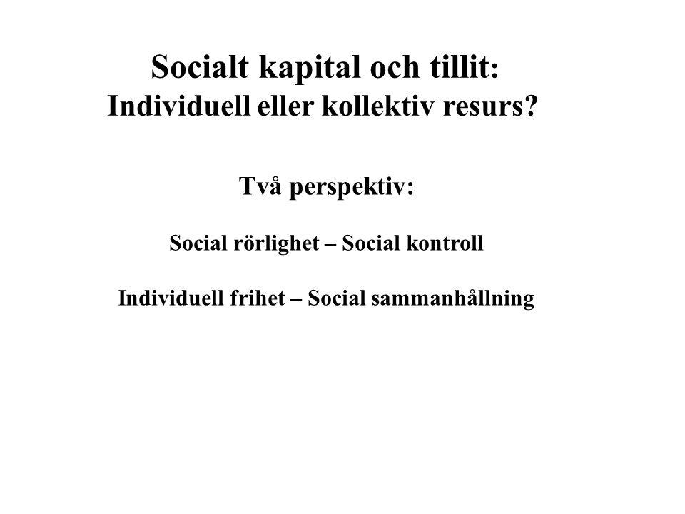 Socialt kapital och tillit : Individuell eller kollektiv resurs? Två perspektiv: Social rörlighet – Social kontroll Individuell frihet – Social samman