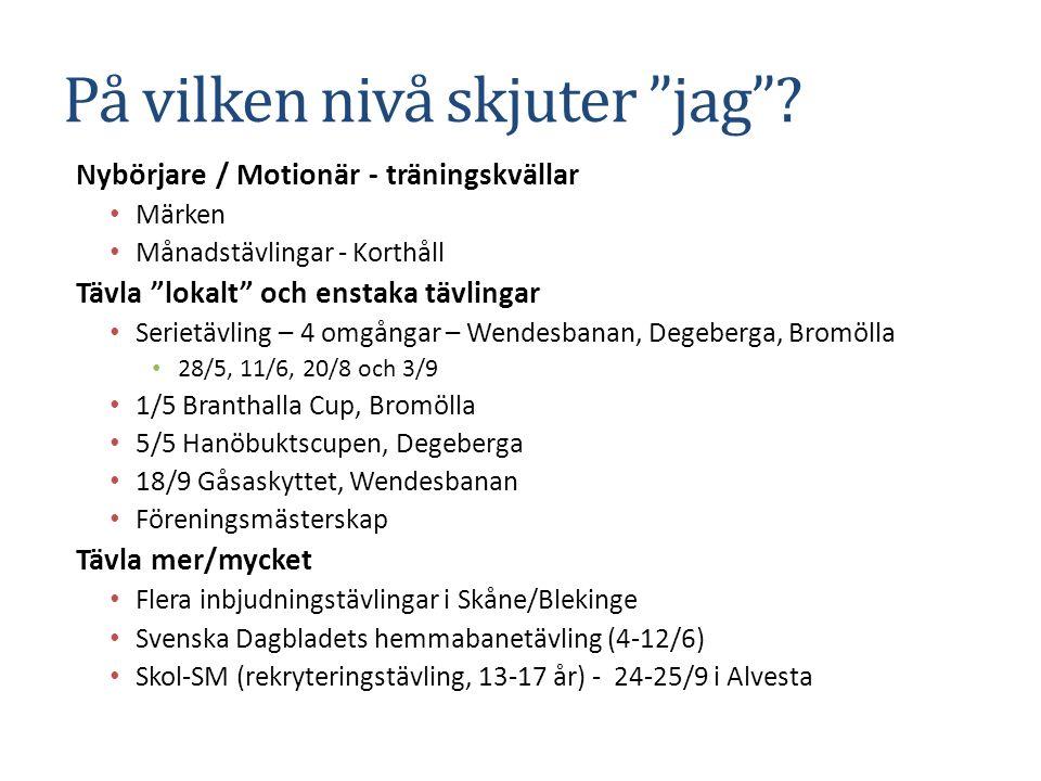 """På vilken nivå skjuter """"jag""""? Nybörjare / Motionär - träningskvällar Märken Månadstävlingar - Korthåll Tävla """"lokalt"""" och enstaka tävlingar Serietävli"""