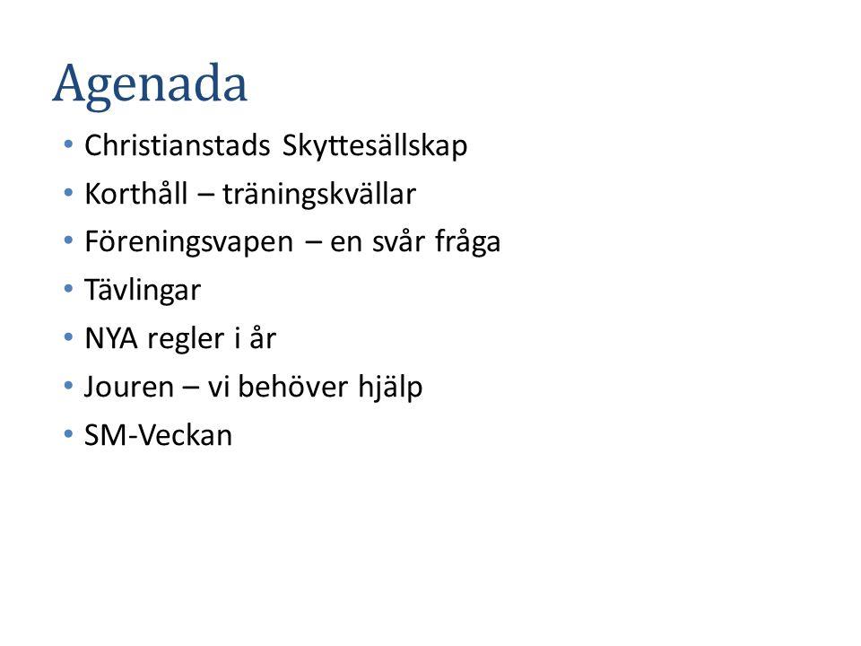 Agenada Christianstads Skyttesällskap Korthåll – träningskvällar Föreningsvapen – en svår fråga Tävlingar NYA regler i år Jouren – vi behöver hjälp SM