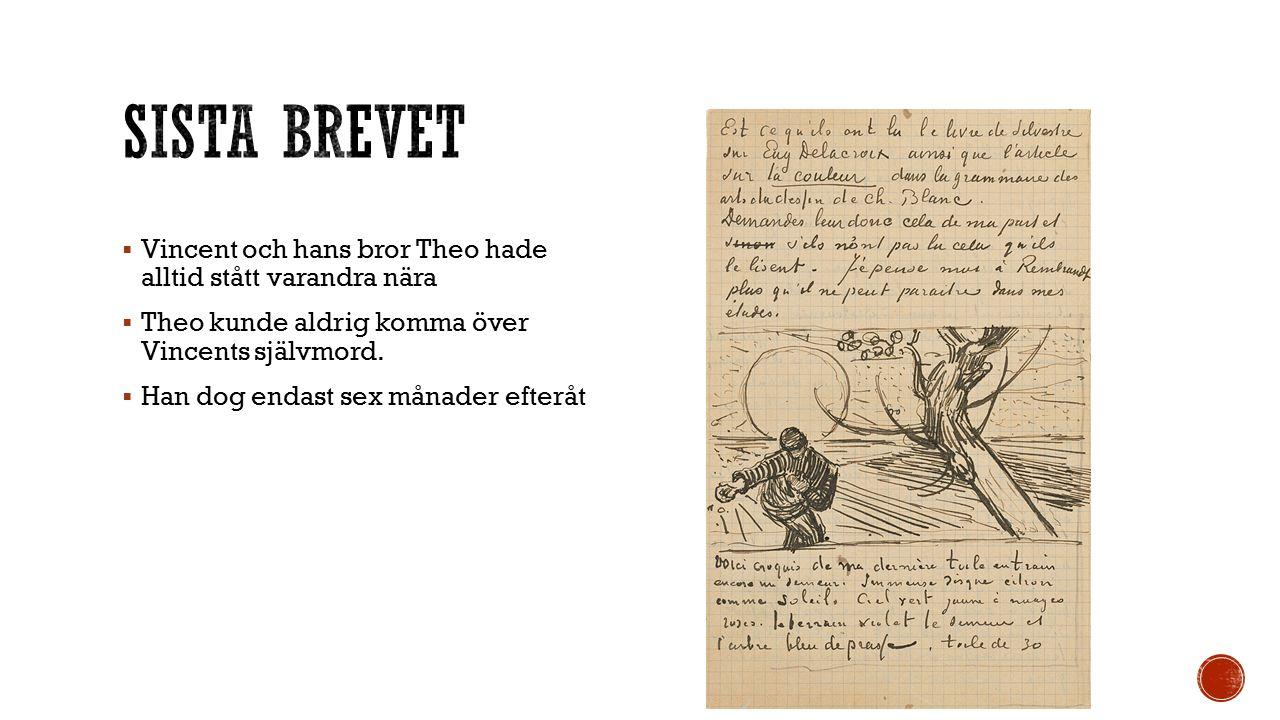  Vincent och hans bror Theo hade alltid stått varandra nära  Theo kunde aldrig komma över Vincents självmord.