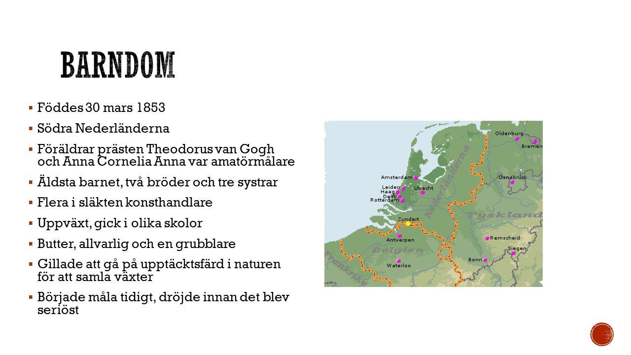  Föddes 30 mars 1853  Södra Nederländerna  Föräldrar prästen Theodorus van Gogh och Anna Cornelia Anna var amatörmålare  Äldsta barnet, två bröder och tre systrar  Flera i släkten konsthandlare  Uppväxt, gick i olika skolor  Butter, allvarlig och en grubblare  Gillade att gå på upptäcktsfärd i naturen för att samla växter  Började måla tidigt, dröjde innan det blev seriöst